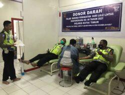 Semarak HUT Lalu Lintas Ke-66, Personil Sat Lantas Polres Kutim Berbondong-Bondong Donor Darah